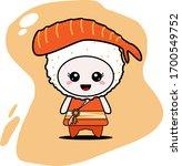 cute sushi character vector... | Shutterstock .eps vector #1700549752