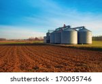 industrial silos in the fields  ...