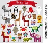 set of funny cartoon animals on ... | Shutterstock . vector #170056142