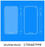 blueprint mobile phone outline...