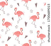 pink flamingo seamless pattern... | Shutterstock . vector #1700689015