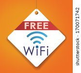 free wifi   vector paper tag  ...