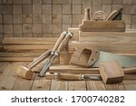 Set Of Carpentry Tools Wooden...