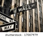 A Wall Street Sign In Manhatta...