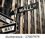 a wall street sign in manhattan ... | Shutterstock . vector #17007979