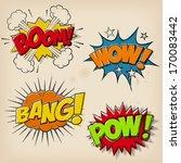a set of 4 grunge comic cartoon ... | Shutterstock .eps vector #170083442