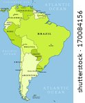 map of south america. political ... | Shutterstock . vector #170084156