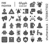 Firefighter Solid Icon Set ...