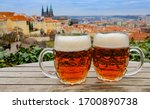 Two Mugs Of Czech Beer At...