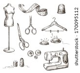 set of sewing accessories... | Shutterstock .eps vector #170095112