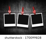 photos hanging on clothesline... | Shutterstock . vector #170099828
