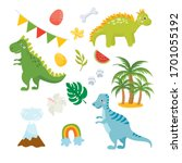 set of cute dinosaurs isolated... | Shutterstock .eps vector #1701055192