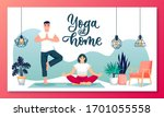 man and woman doing yoga at... | Shutterstock .eps vector #1701055558