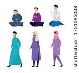 group of people muslim avatar... | Shutterstock .eps vector #1701095038