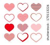 heart set. red valentine... | Shutterstock .eps vector #170113226