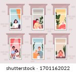 people in quarantine and...   Shutterstock .eps vector #1701162022