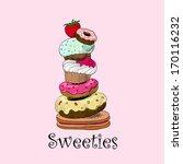 illustration of cute retro... | Shutterstock . vector #170116232