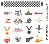 Icon Set Of Automotive Racing...