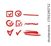 red hand drawn check  mark...   Shutterstock .eps vector #1701240712