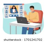 young man speak on web... | Shutterstock .eps vector #1701241702