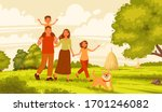happy family walks in nature.... | Shutterstock .eps vector #1701246082