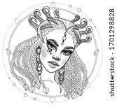black and white girl woman...   Shutterstock .eps vector #1701298828
