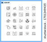 mobile interface line set of 25 ... | Shutterstock .eps vector #1701349435