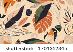 hand drawn floral abstract... | Shutterstock .eps vector #1701352345