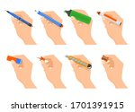 Hands Holding Stationery Vector ...