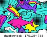 seamless pattern with cartoon... | Shutterstock .eps vector #1701394768