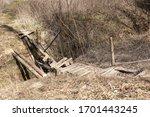 Broken Wooden Bridge Across The ...