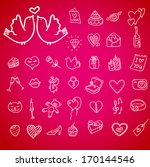 i love you doodle icon set... | Shutterstock .eps vector #170144546