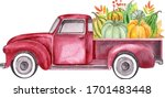 Watercolor Retro Truck With...