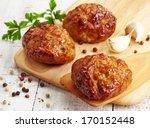 Juicy Fried Meat Cutlets On...