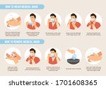 how to wear and remove medical... | Shutterstock .eps vector #1701608365