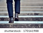 One Person In Stairs  Winter  ...