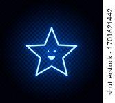 Star Blue Neon Vector Icon