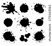 set of ink spots and stains   Shutterstock .eps vector #170163062