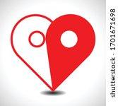 pin logo love . symbol heart... | Shutterstock .eps vector #1701671698