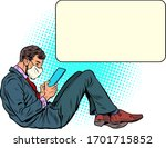 a man in a medical mask reads... | Shutterstock .eps vector #1701715852