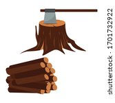 ax with timber icon. wood set... | Shutterstock .eps vector #1701732922