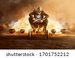 Small photo of Businessman on a pedal car with a rocket engine