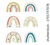 vector set of cute spring... | Shutterstock .eps vector #1701757078