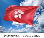 Hong Kong  Flag In Front Of...