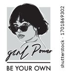 Girl Power Slogan With Girl In...
