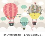 three beautiful hot air balloon ...   Shutterstock .eps vector #1701935578