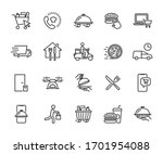 vector set of food delivery... | Shutterstock .eps vector #1701954088