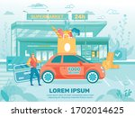 delivery man standing near car... | Shutterstock .eps vector #1702014625