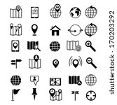 map and location icons set black | Shutterstock .eps vector #170203292