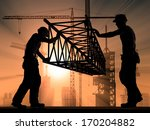 the group of workers working at ... | Shutterstock . vector #170204882
